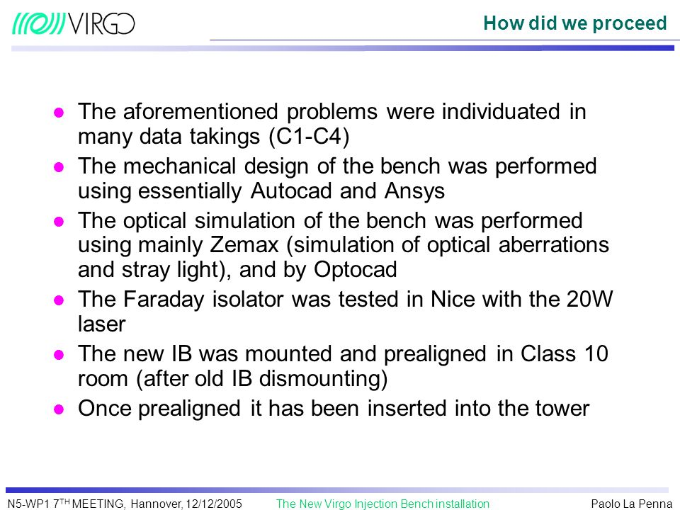 The Faraday isolator was tested in Nice with the 20W laser