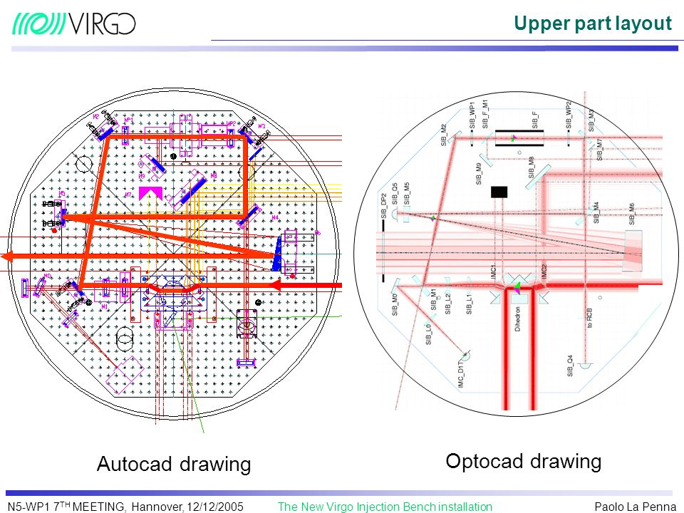 Upper part layout Autocad drawing Optocad drawing