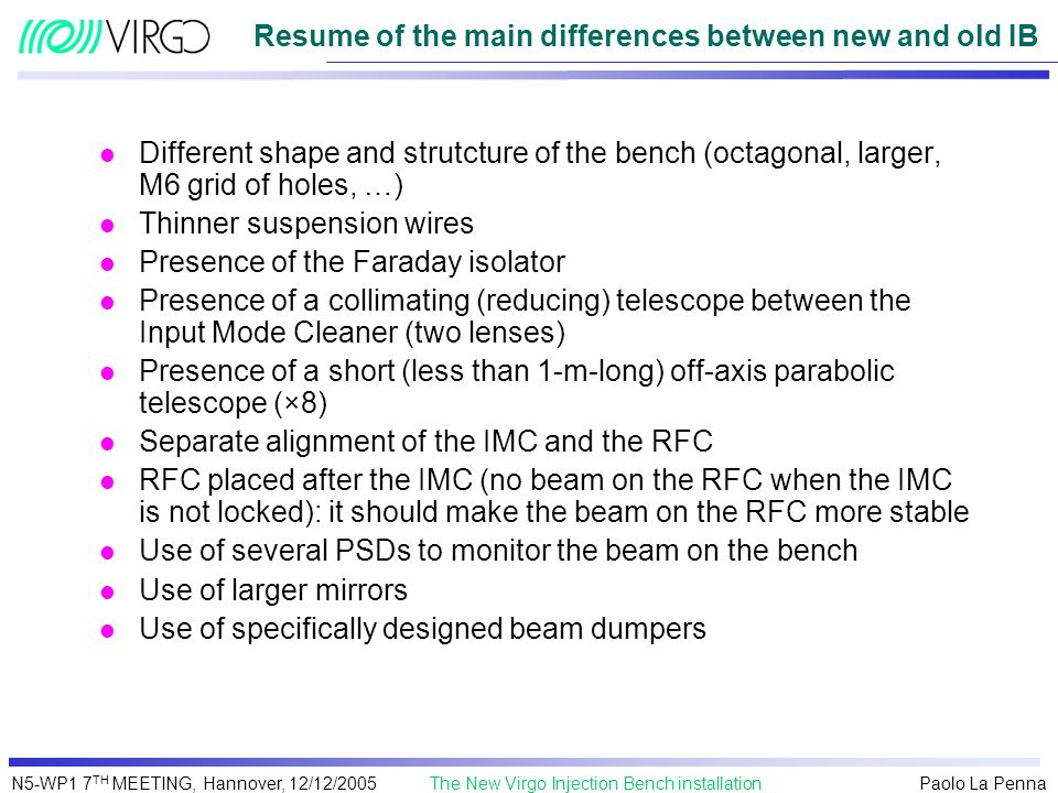 Resume of the main differences between new and old IB