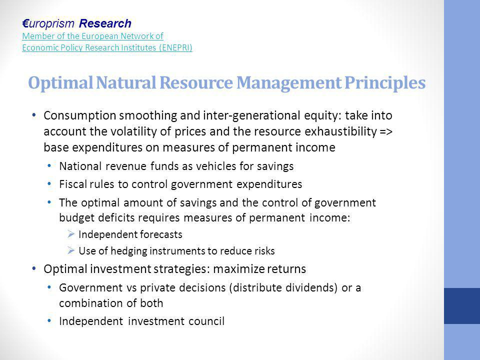 Optimal Natural Resource Management Principles