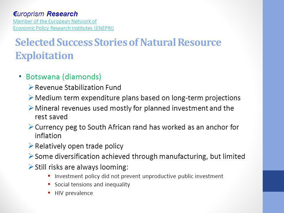 Selected Success Stories of Natural Resource Exploitation