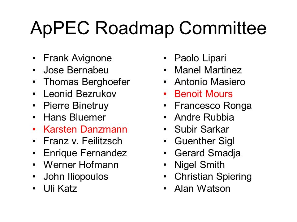 ApPEC Roadmap Committee