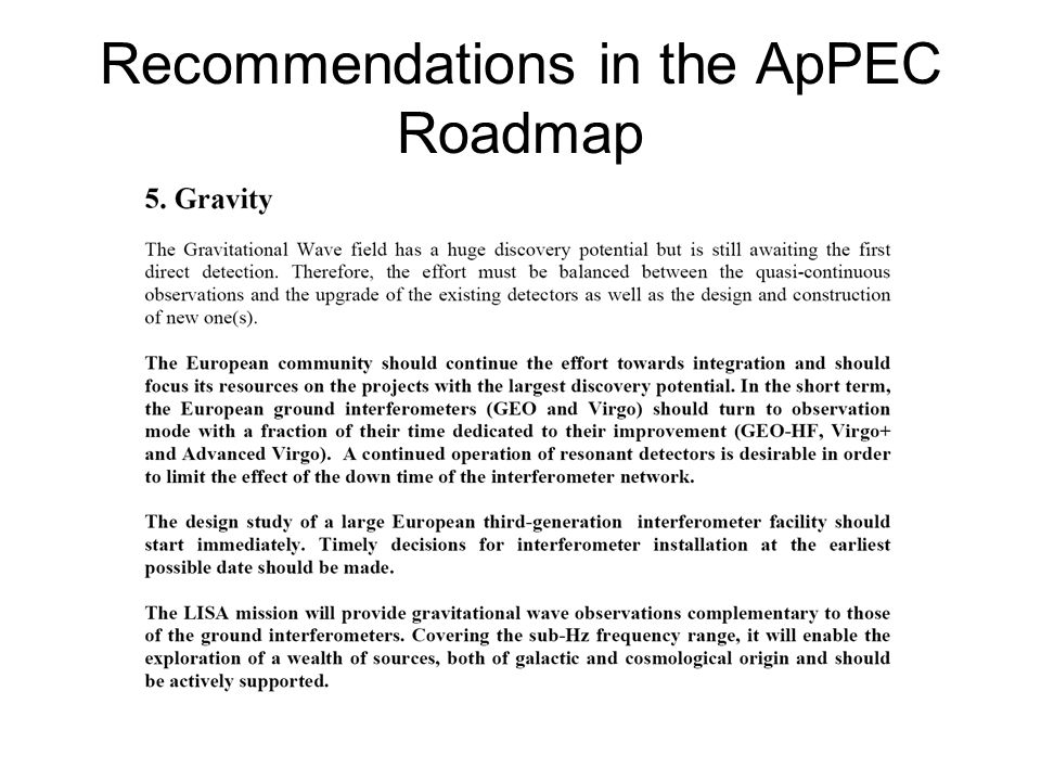 Recommendations in the ApPEC Roadmap
