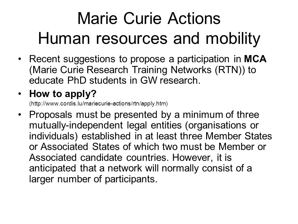 Marie Curie Actions Human resources and mobility