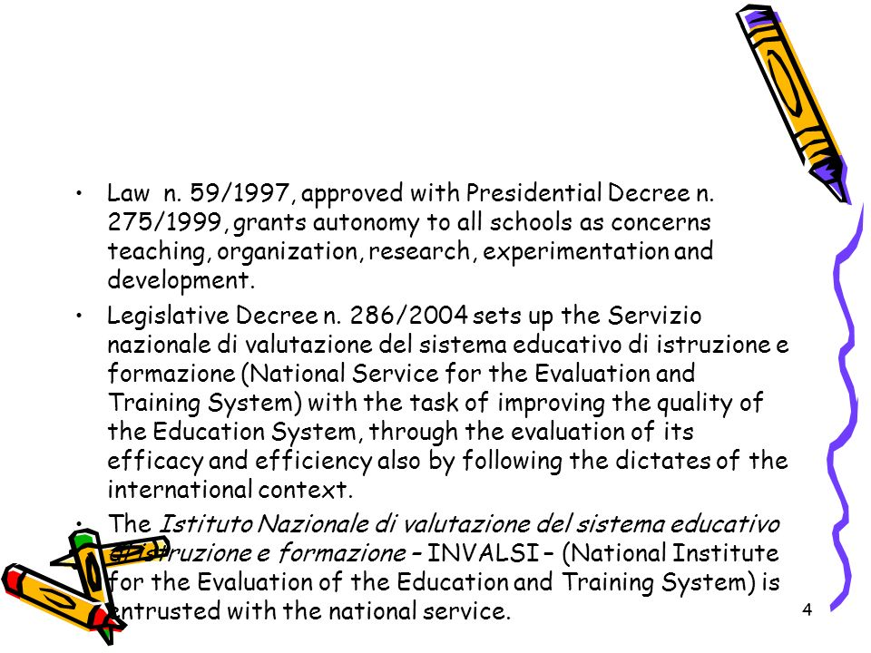 Law n. 59/1997, approved with Presidential Decree n