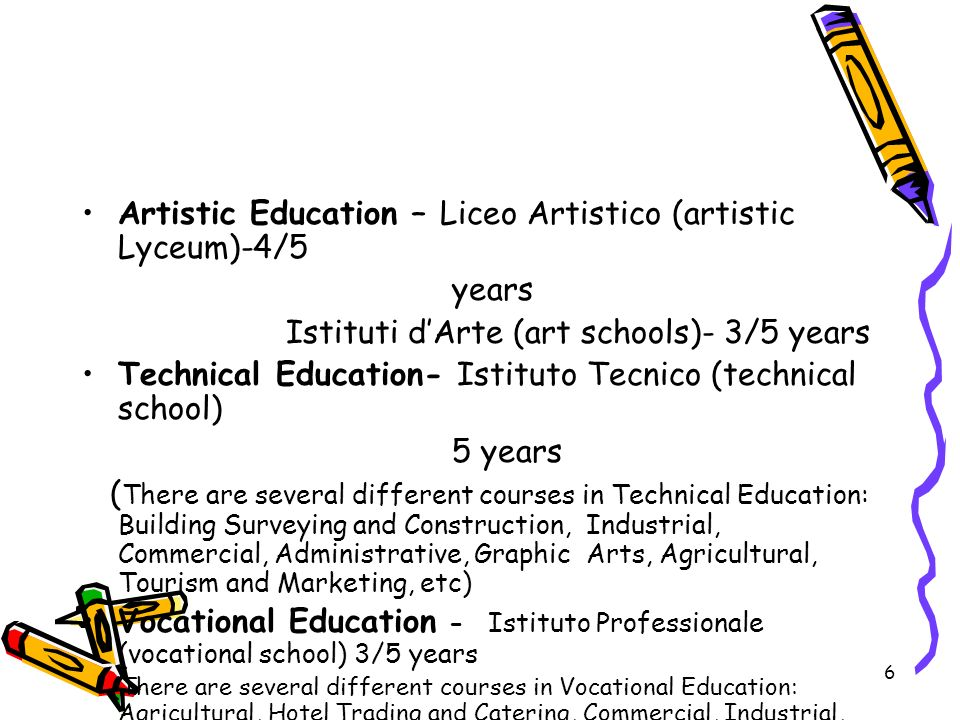 Artistic Education – Liceo Artistico (artistic Lyceum)-4/5 years