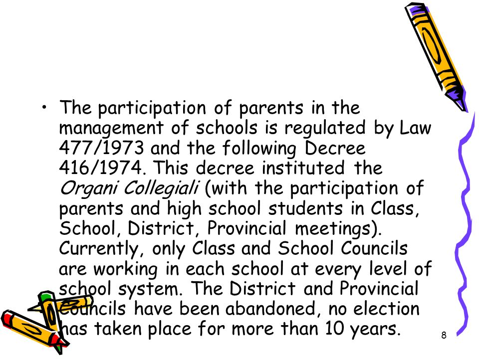 The participation of parents in the management of schools is regulated by Law 477/1973 and the following Decree 416/1974.