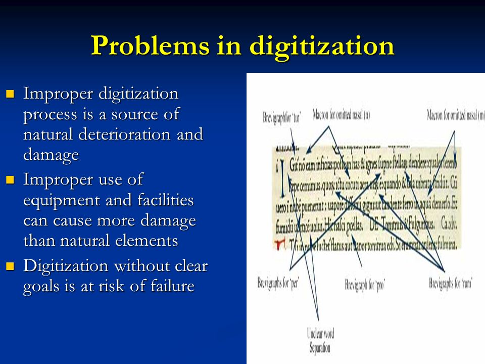 Problems in digitization