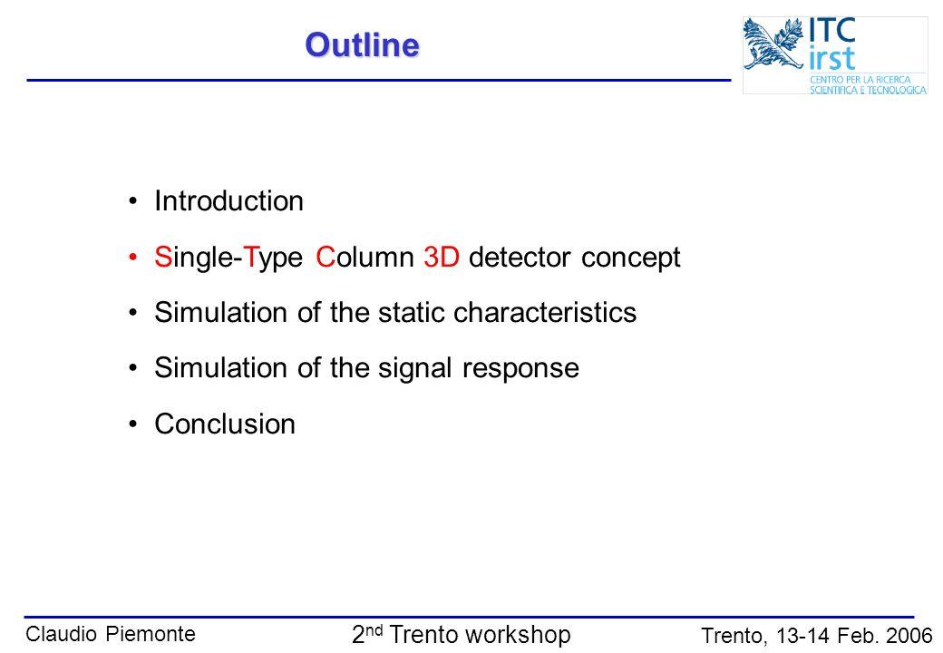 Outline Introduction Single-Type Column 3D detector concept