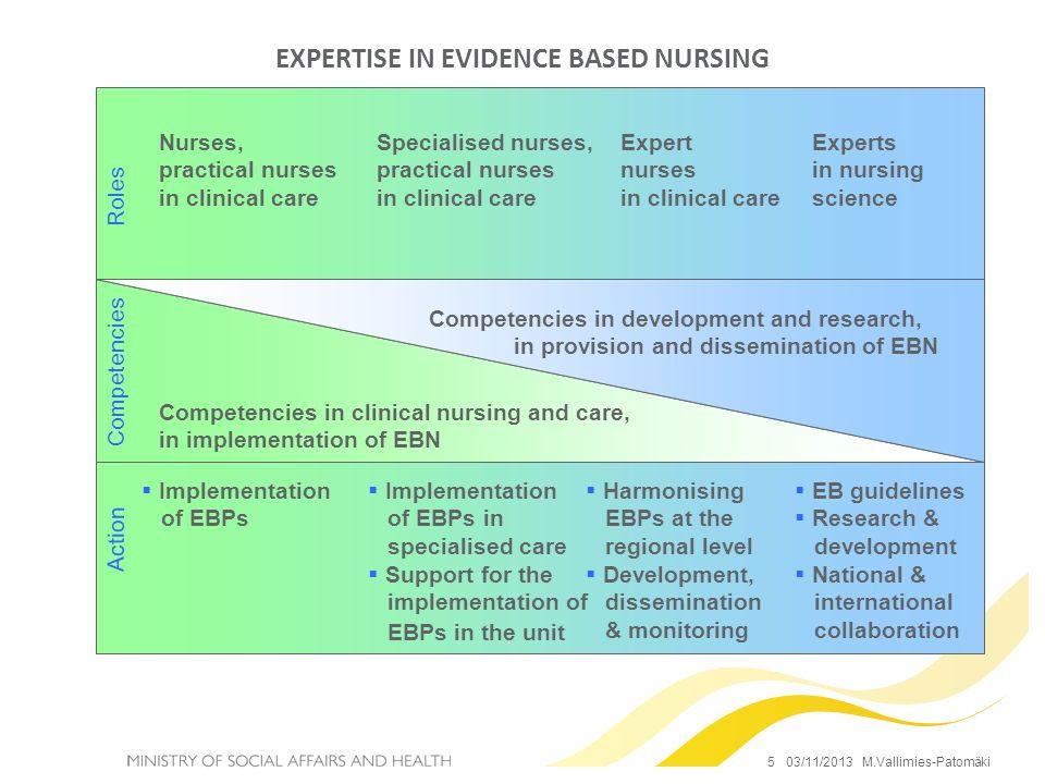 EXPERTISE IN EVIDENCE BASED NURSING