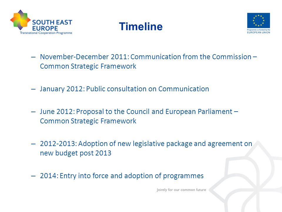 Timeline November-December 2011: Communication from the Commission – Common Strategic Framework. January 2012: Public consultation on Communication.