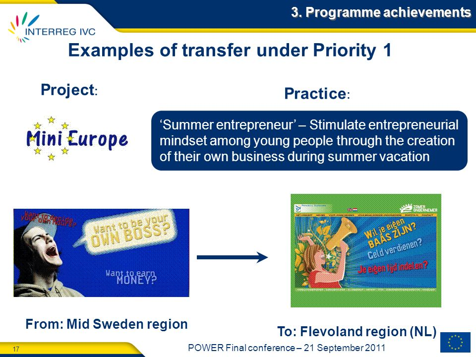 Examples of transfer under Priority 1