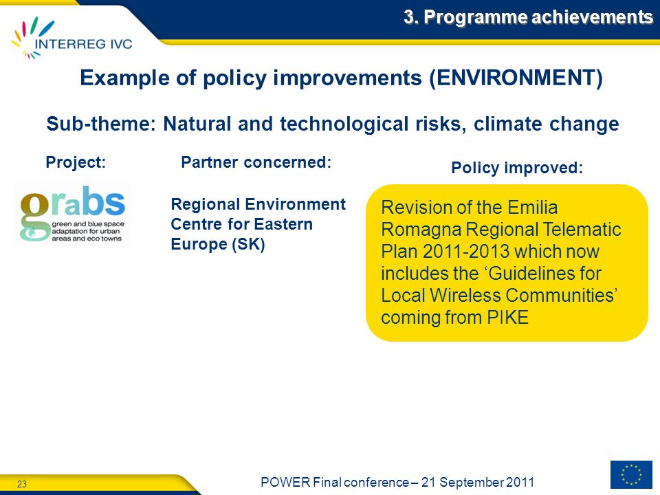 Example of policy improvements (ENVIRONMENT)
