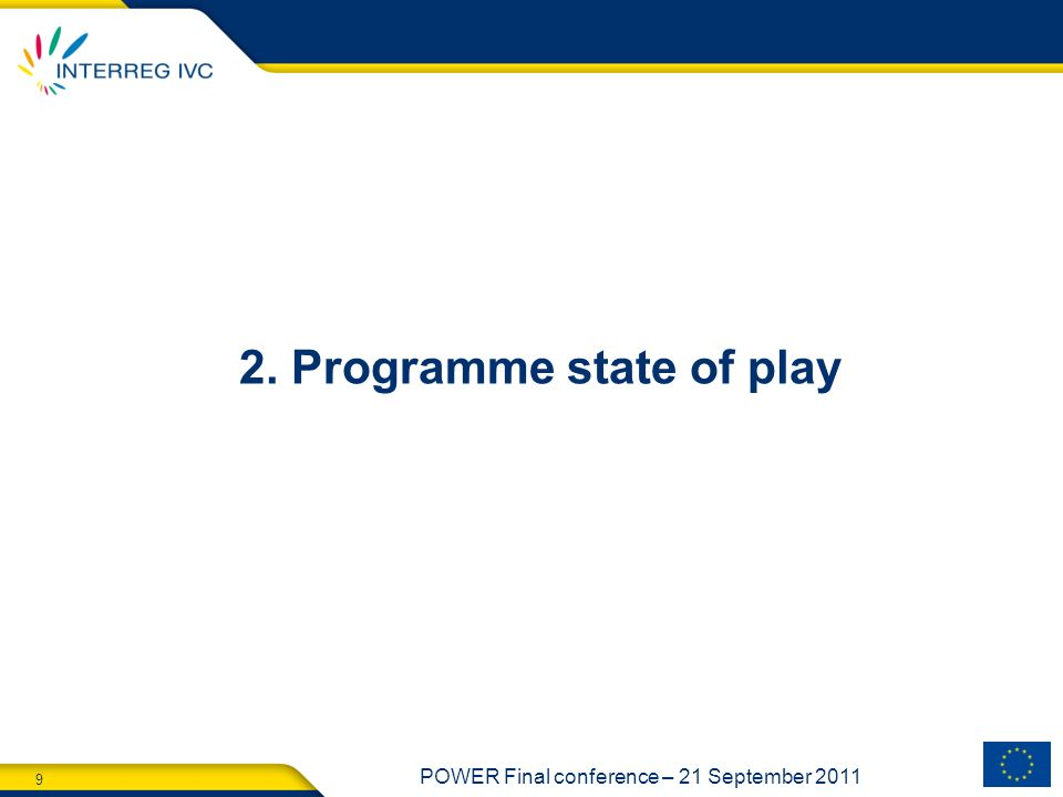2. Programme state of play