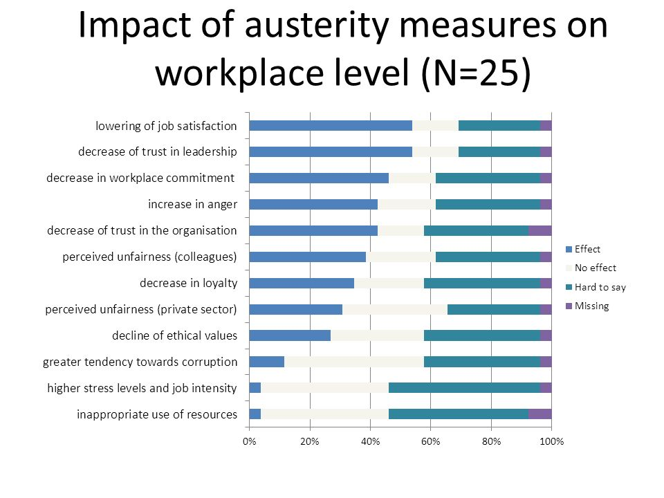 Impact of austerity measures on workplace level (N=25)