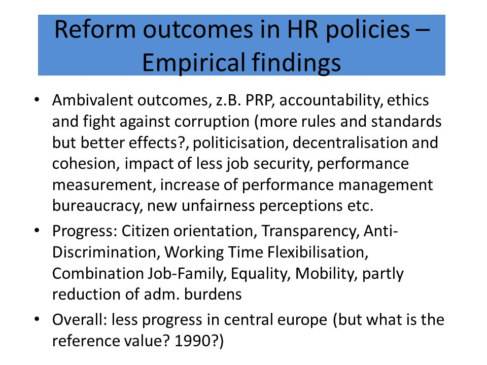 Reform outcomes in HR policies – Empirical findings