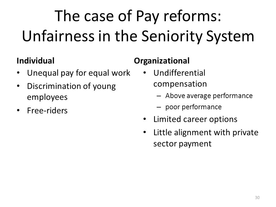 The case of Pay reforms: Unfairness in the Seniority System