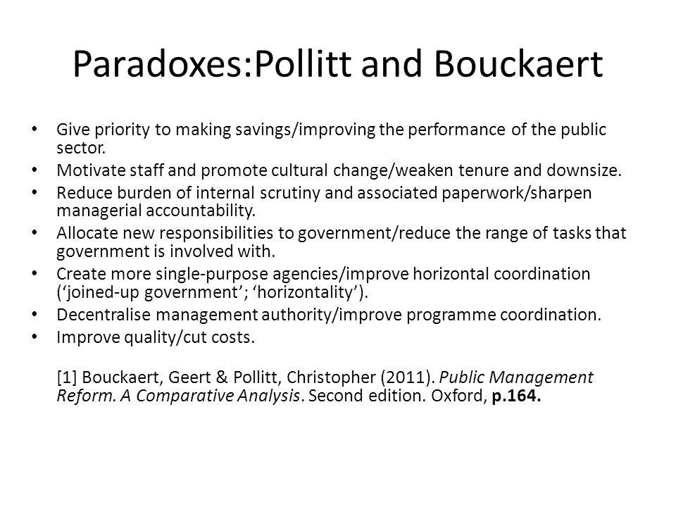 Paradoxes:Pollitt and Bouckaert