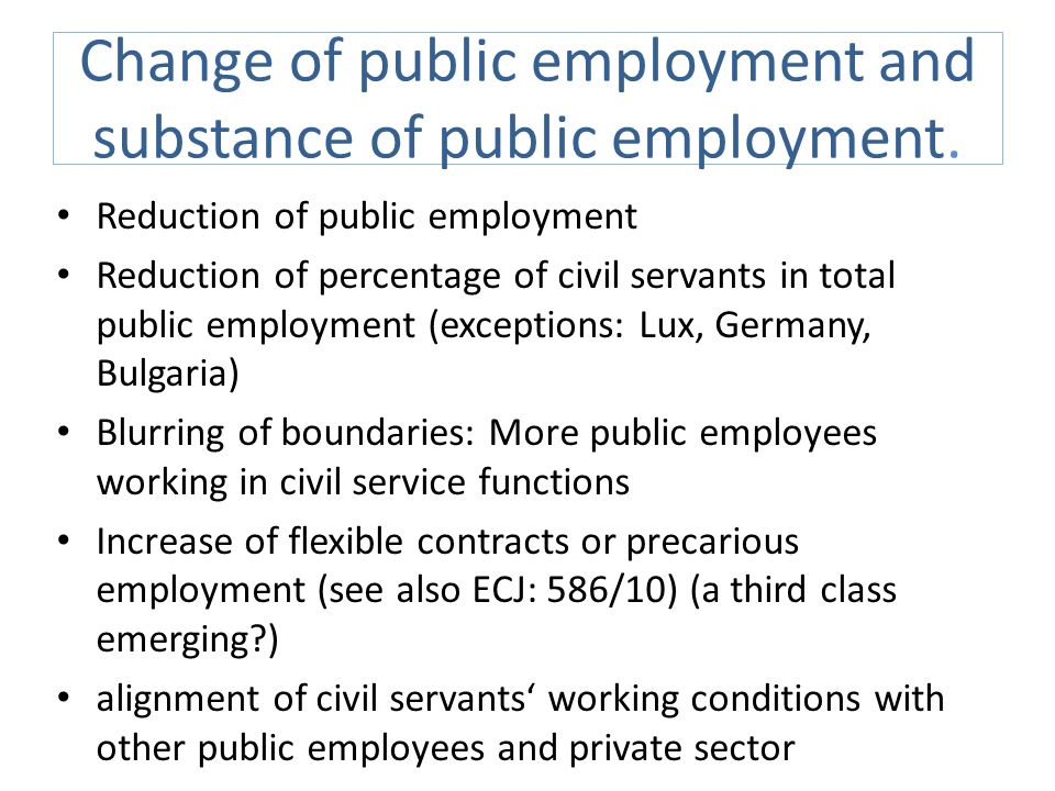 Change of public employment and substance of public employment.
