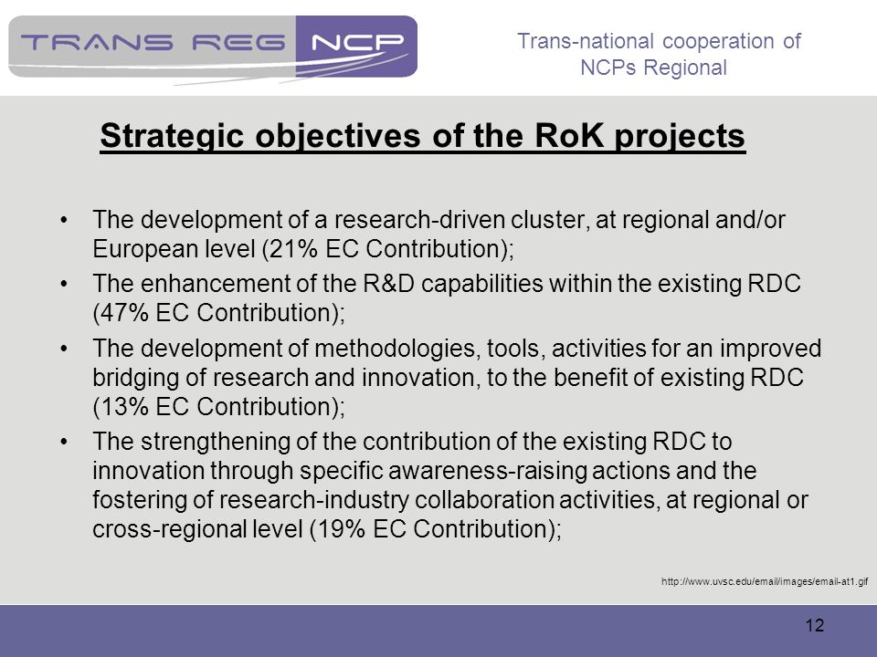 Strategic objectives of the RoK projects