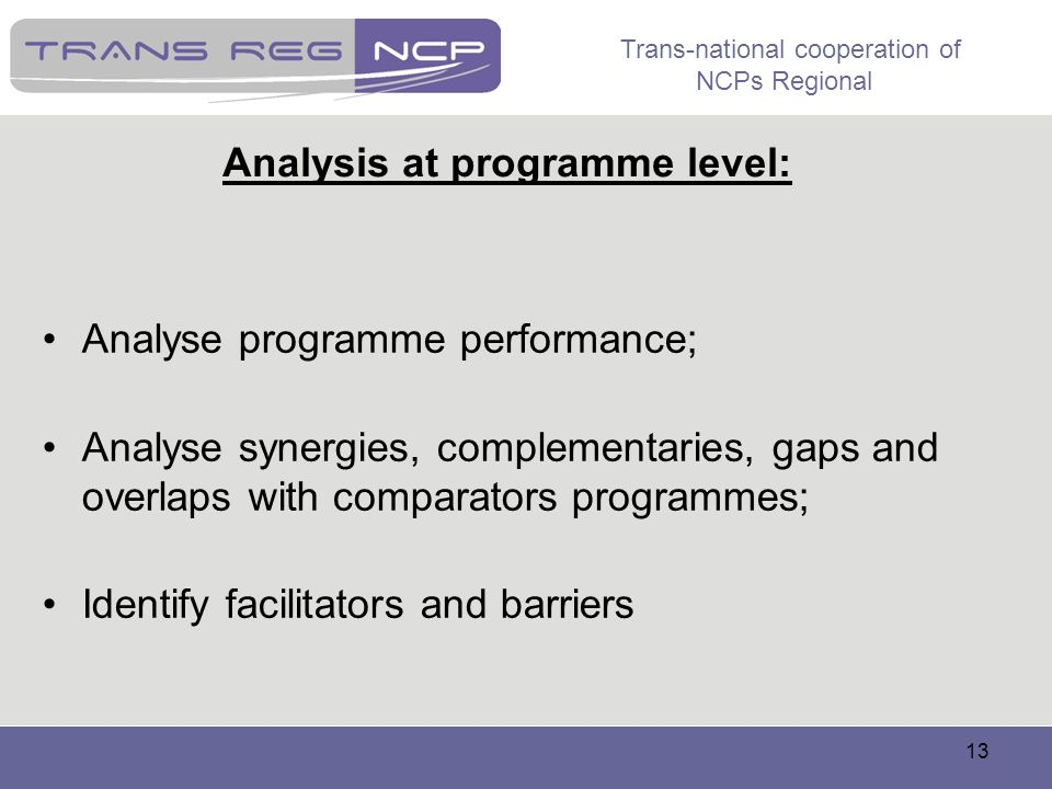 Analysis at programme level: