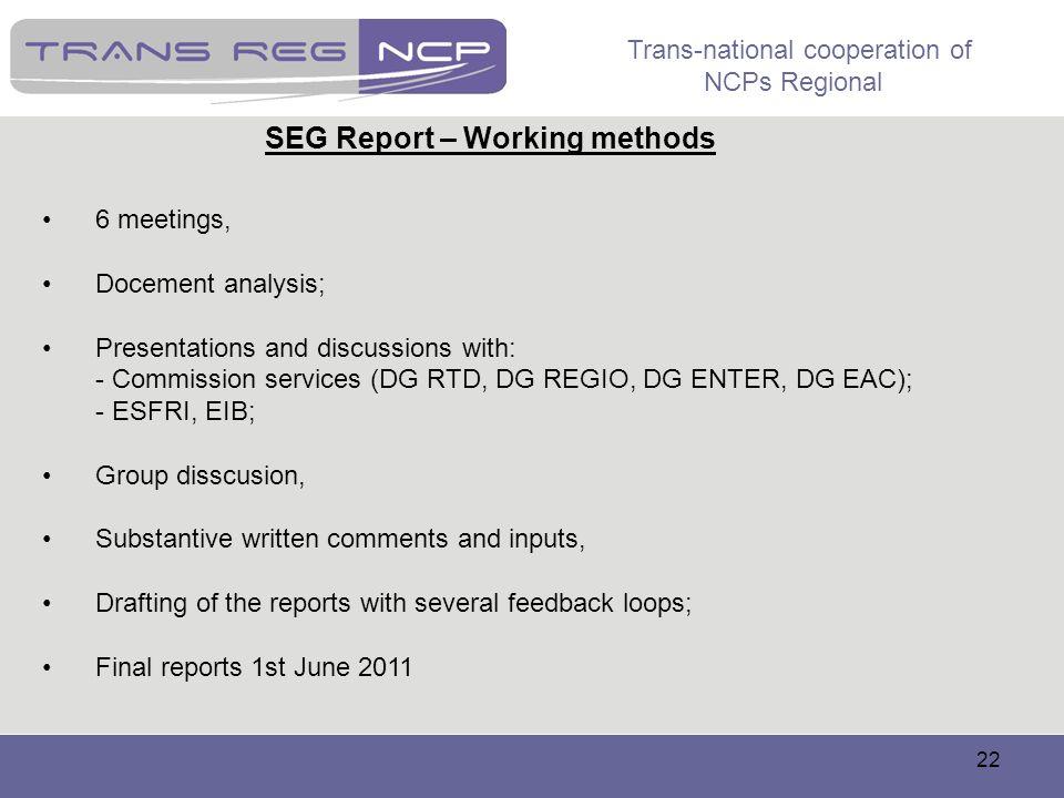 SEG Report – Working methods