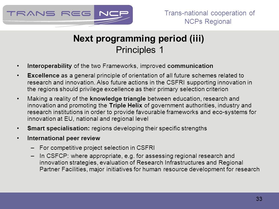Next programming period (iii) Principles 1