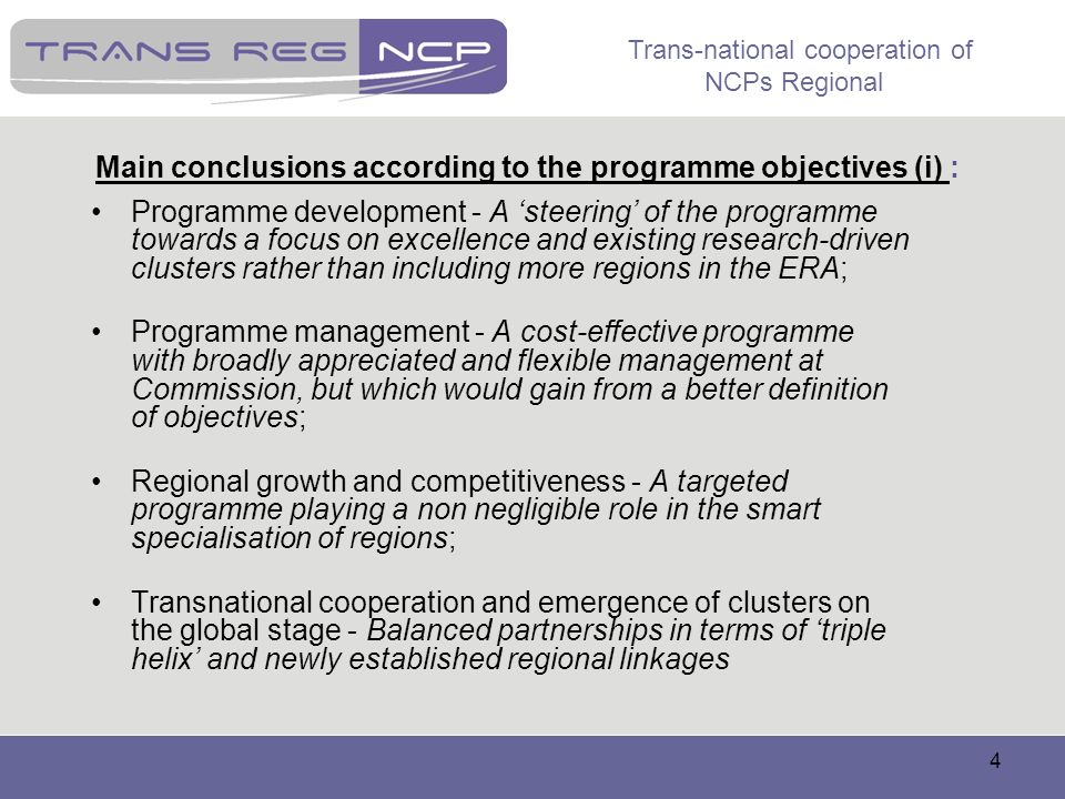 Main conclusions according to the programme objectives (i) :