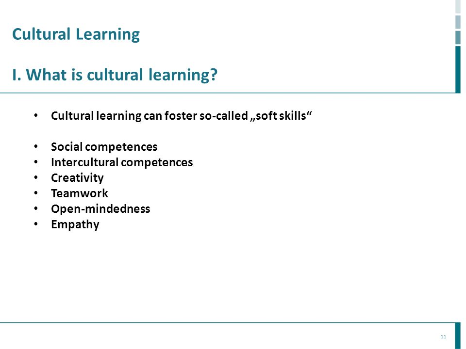 Cultural Learning I. What is cultural learning