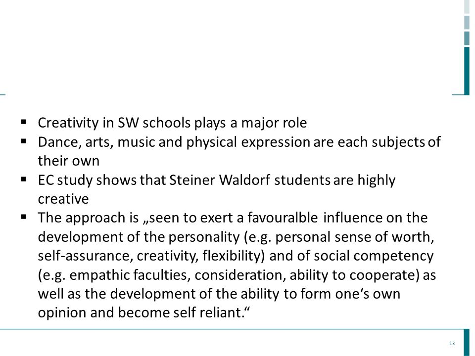 Creativity in SW schools plays a major role