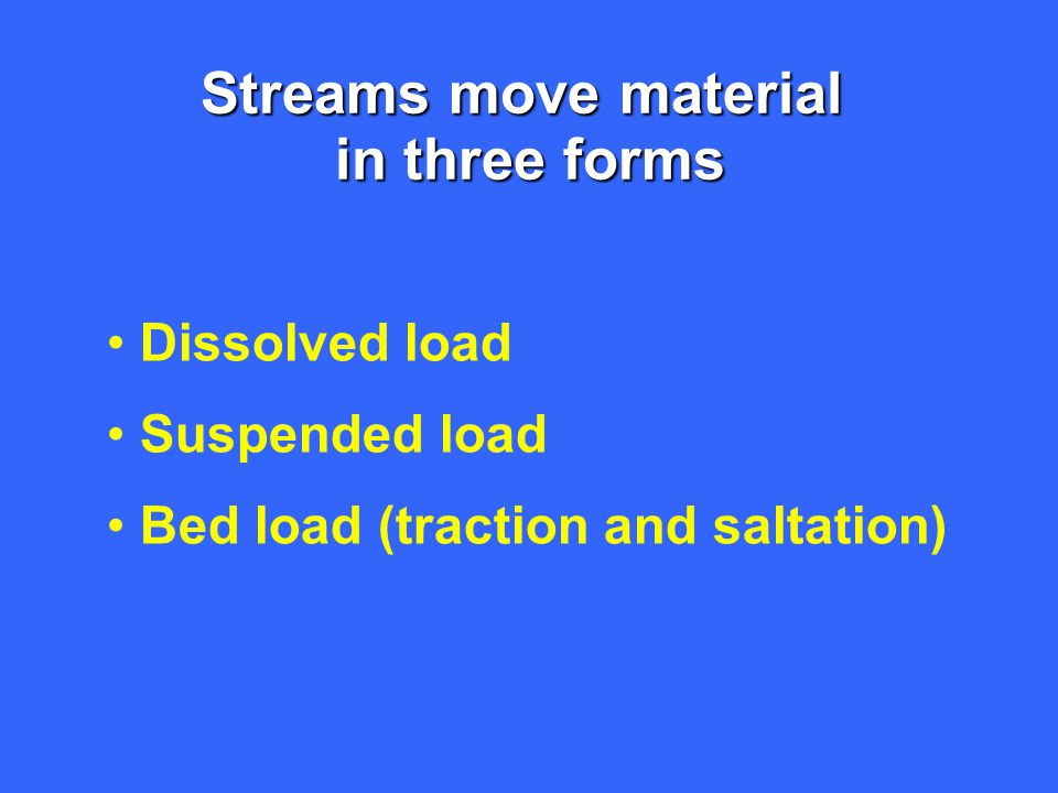 Streams move material in three forms