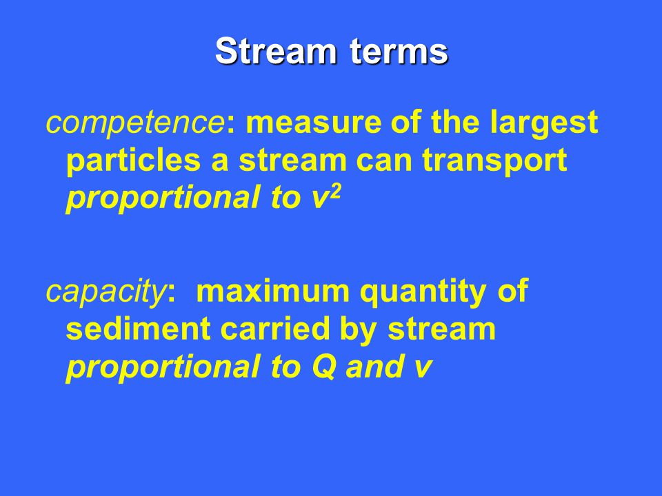 Stream terms competence: measure of the largest particles a stream can transport proportional to v2.