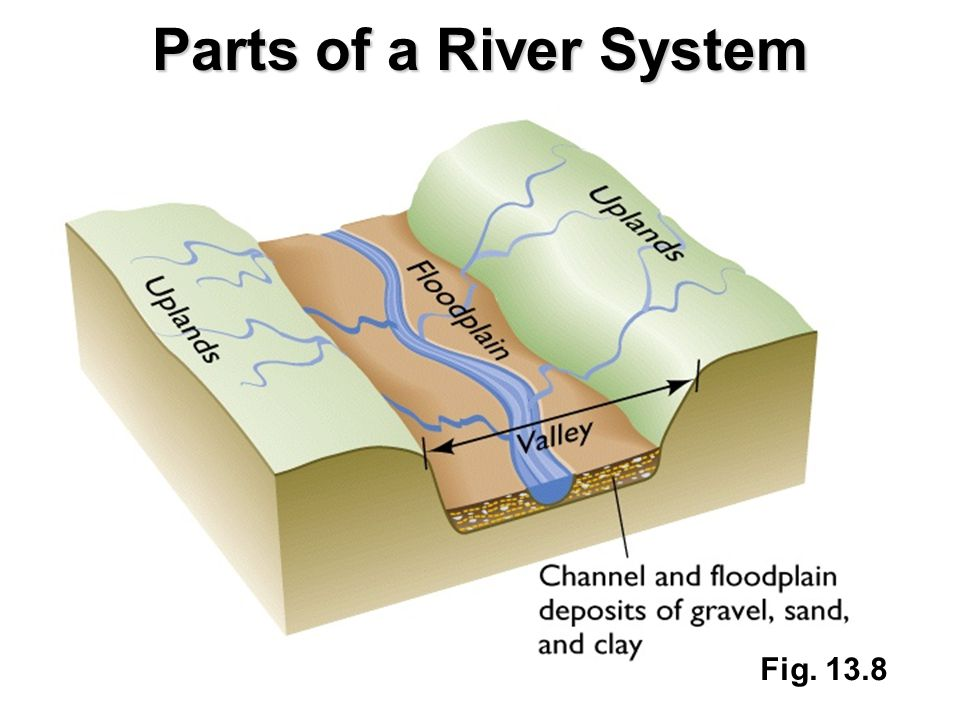 Parts of a River System Fig. 13.8