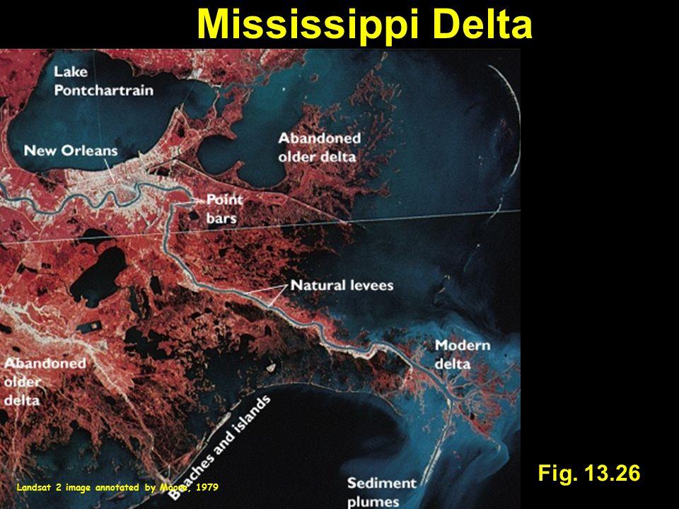 Mississippi Delta Fig. 13.26 Landsat 2 image annotated by Moore, 1979