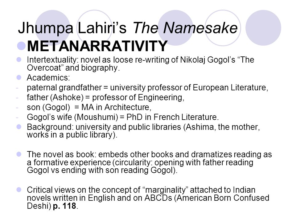 jhumpa lahiri the namesake essay Free essay: over the course of the novel, the namesake, by jhumpa lahiri, gogol is constantly moving, and by the time he is in his late twenties, he has.