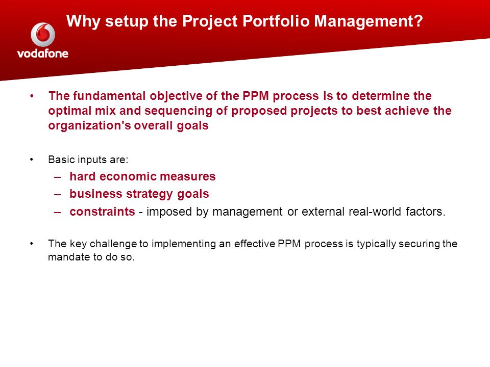 proposed project portfolio management process This feedback is necessary to improve the project portfolio management process and the  program whose addition to the project portfolio has been proposed.
