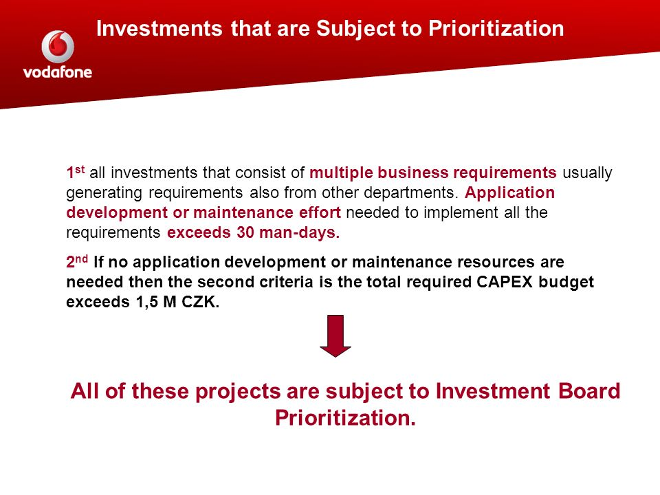 Investments that are Subject to Prioritization