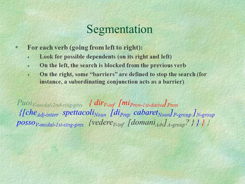 Segmentation For each verb (going from left to right): Look for possible dependents (on its right and left)