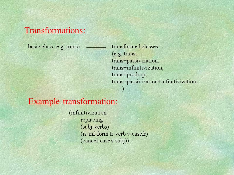 Example transformation: