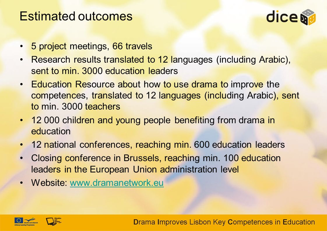 Estimated outcomes 5 project meetings, 66 travels