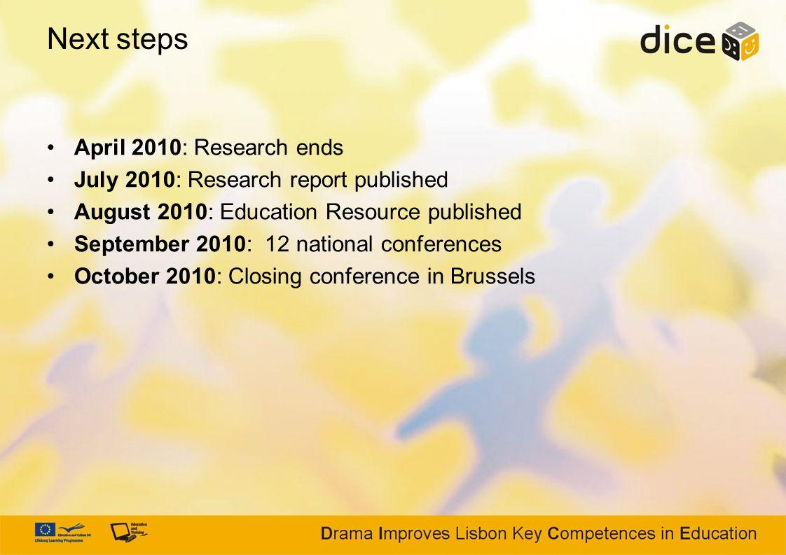 Next steps April 2010: Research ends