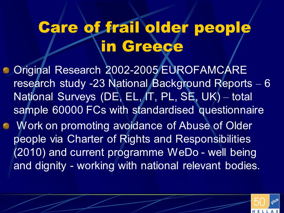 Care of frail older people in Greece