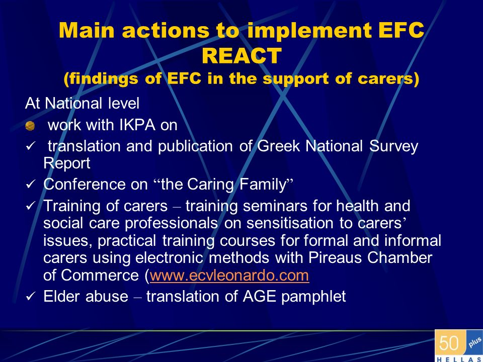 Main actions to implement EFC REACT (findings of EFC in the support of carers)