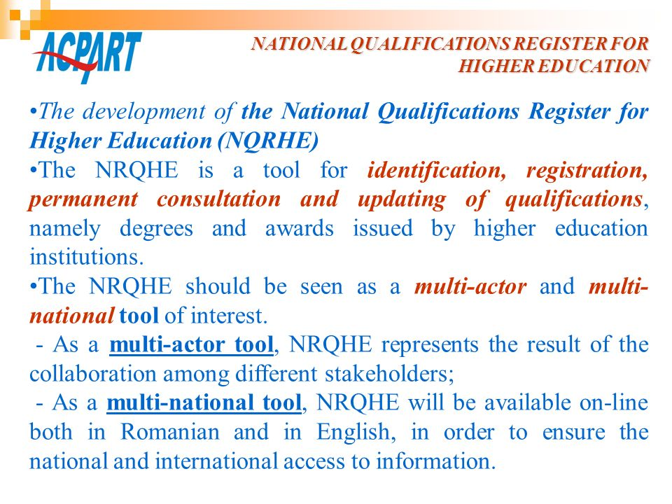 NATIONAL QUALIFICATIONS REGISTER FOR HIGHER EDUCATION