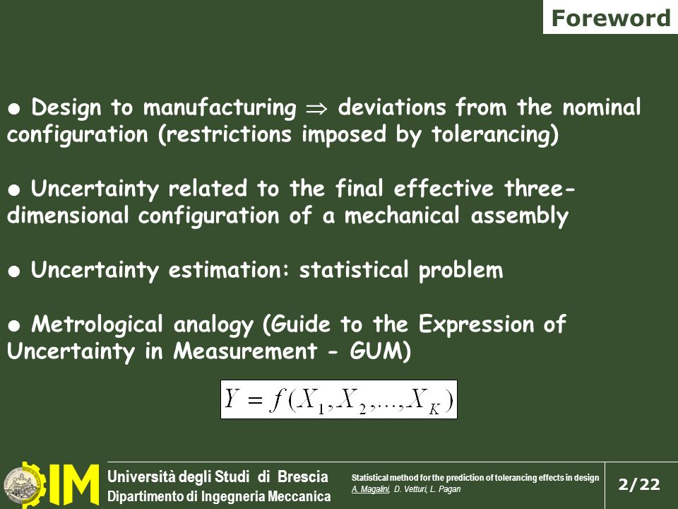 Uncertainty estimation: statistical problem
