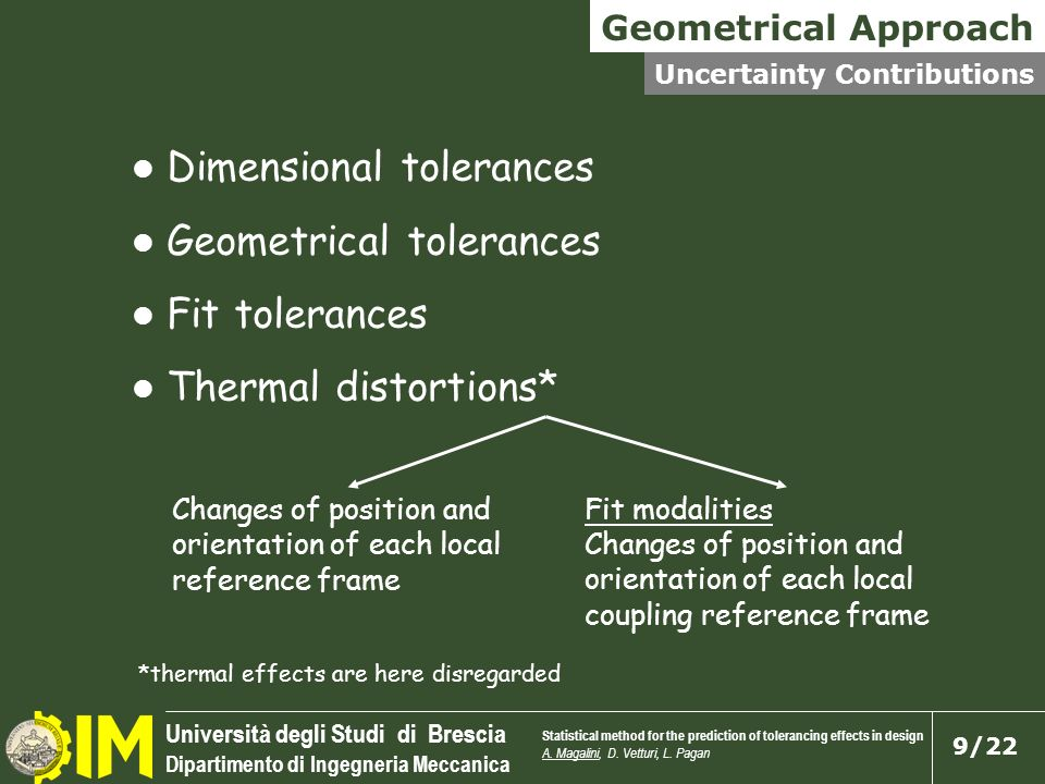 Dimensional tolerances Geometrical tolerances Fit tolerances