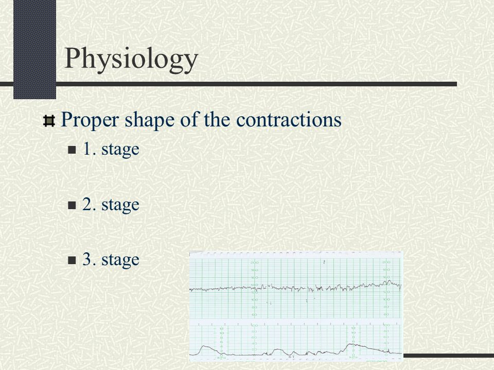 Physiology Proper shape of the contractions 1. stage 2. stage 3. stage