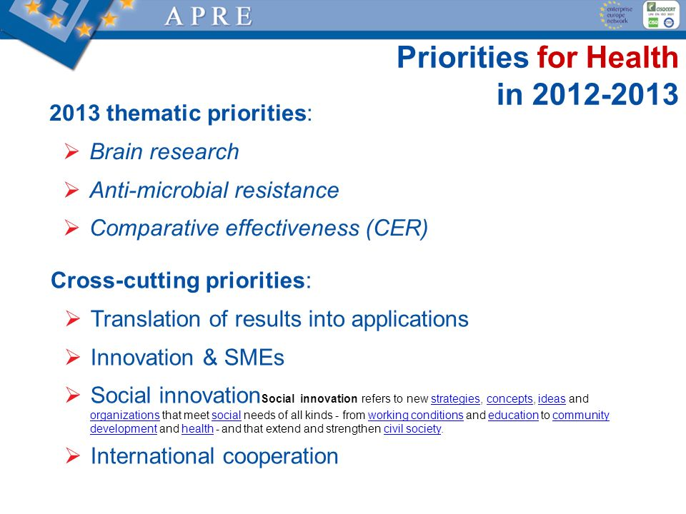 Priorities for Health in