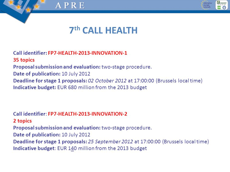 7th CALL HEALTH Call identifier: FP7-HEALTH-2013-INNOVATION-1