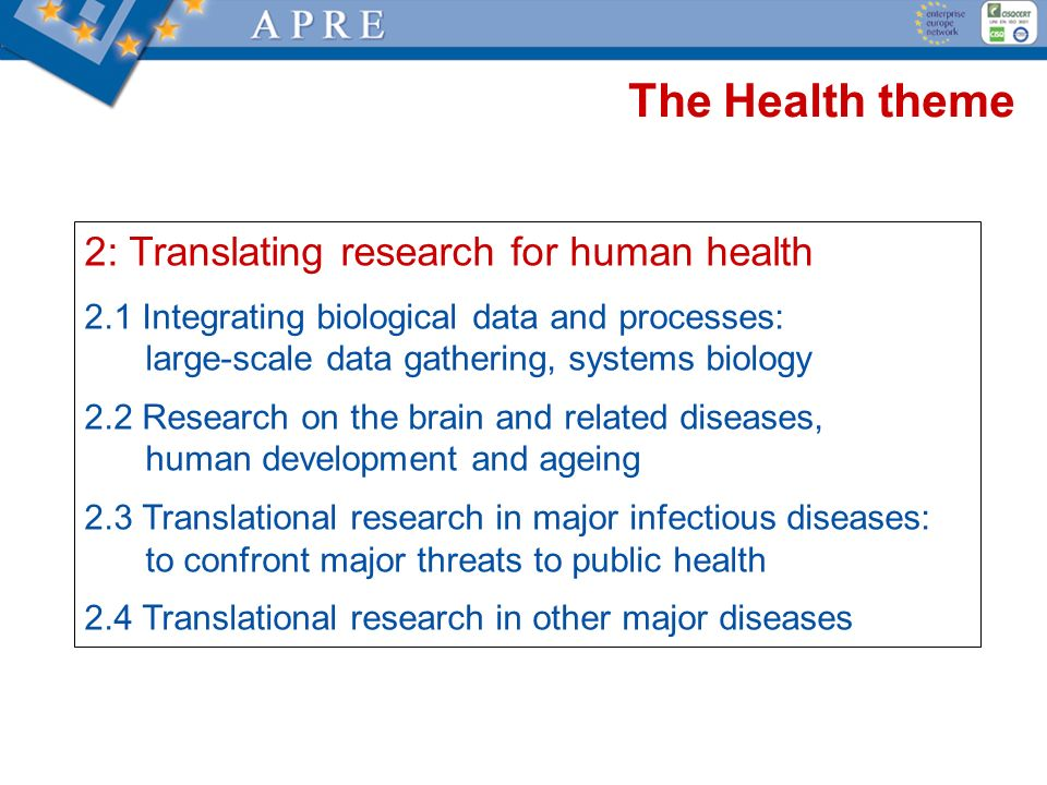 The Health theme 2: Translating research for human health